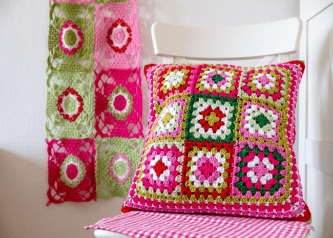 Pretty Granny Square Cushion 2020