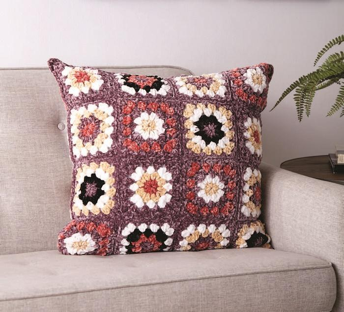 Pretty Granny Squares Crochet Pillow 2020