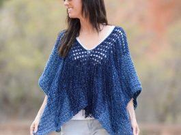 Azul V-Mesh Easy Crochet Poncho Free Pattern