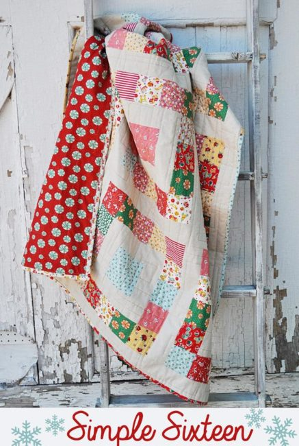 Simple Sixteen Free Quilt Pattern & Log Cabin Quilt Block