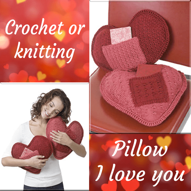 The croche or knitting pillow I love you