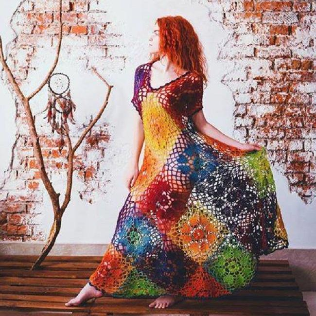 Colorful Crochet Dress with Diagrams