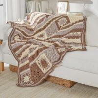 Crochet Afghan blanket brown 4 tones Free Patterns