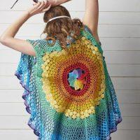 Crochet Rainbow Mandala Waistcoat by Sara Huntington's  - Free Pattern 2020