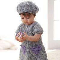 Crochet dress and baby beret Free Pattern - idea 2020