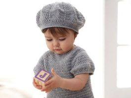 Crochet dress and baby beret Free Pattern
