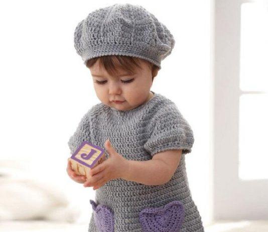 Crochet dress and baby beret Free Pattern