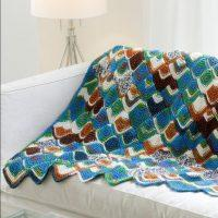 Crochet Brightly Colored Tunisian Throw 01 Pattern free