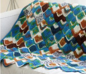 Crochet Brightly Colored Tunisian Throw Pattern 3