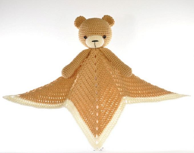 Crochet Lovey Blanket Bear Security Blanket Teddy
