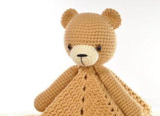 Crochet Lovey Blanket Bear Security Blanket Teddy