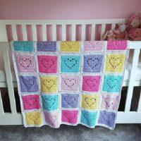 Filet Heart Crochet Baby Blanket Pattern Free for 2021
