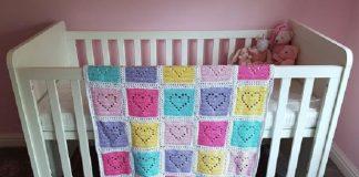 Filet Heart Crochet Baby Blanket Pattern
