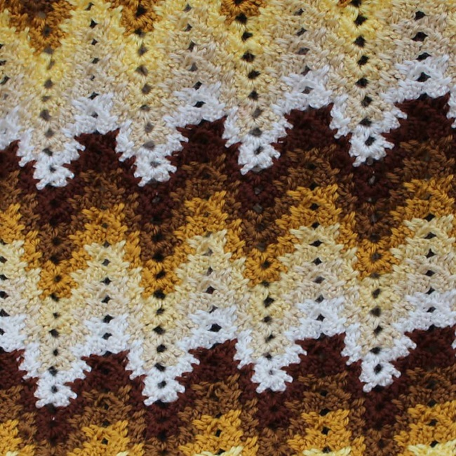 Crochet Grandma Spiked Ripple Blanket is pattern free to download