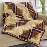 Crochet Autumn Log Cabin Throw Pattern Free
